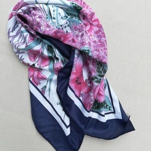Navy Blue and Pink Floral Scarf